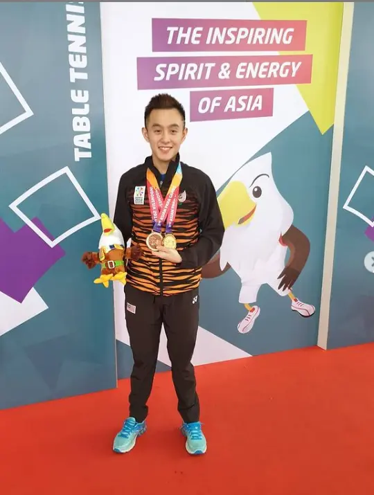 Chee chaoming won gold and bronze in asian game 2018