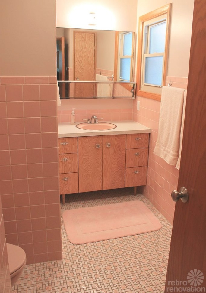 12 Reasons I Love My New Retro Pink Bathroom - Kate'S Pink with regard to Vintage Blue Tile Bathroom