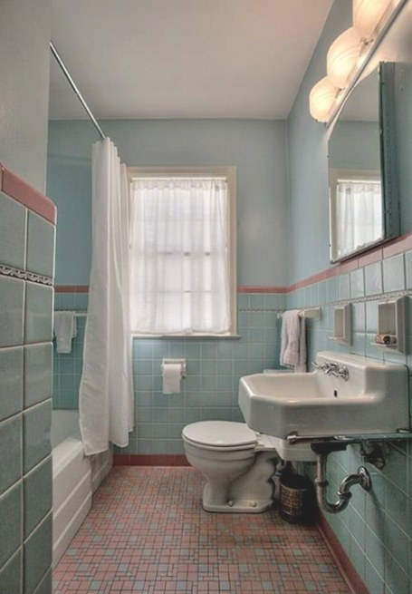 1949 Time Capsule House Filled With Original Charm - Retro in Vintage Blue Tile Bathroom