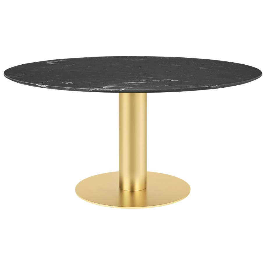 2.0 Round Dining Table – Black Marble, Brass – Rouse Home with Round Marble Dining Table