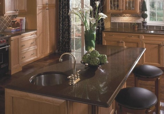 20 Quartz Countertops You Wish You Had | Brown Granite within Black And Brown Kitchen