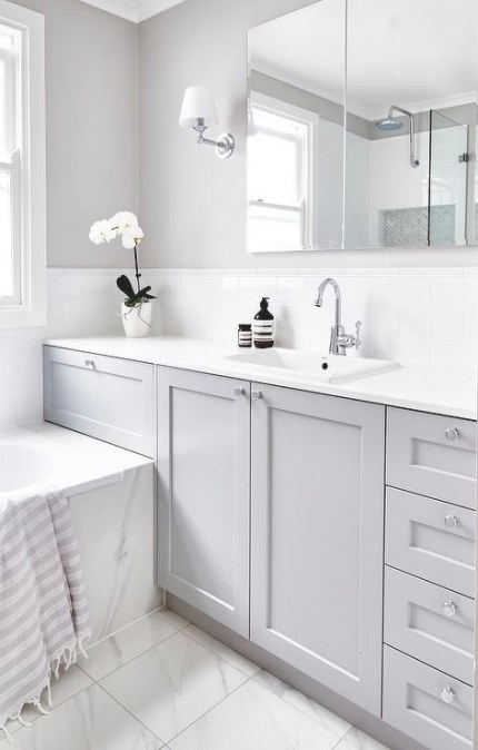 20 Wonderful Grey Bathroom Ideas With Furniture To for Grey And White Bathroom