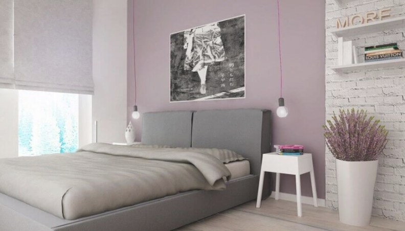 24 Comfortable Bedrooms With An Interesting Accent Wall within Purple Accent Wall Bedroom