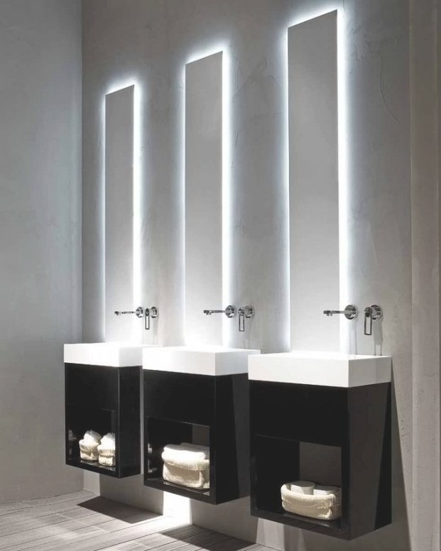 3 Sinks - Over The Top. I Love The Light Behind The intended for Modern Lighted Mirrors For Bathrooms