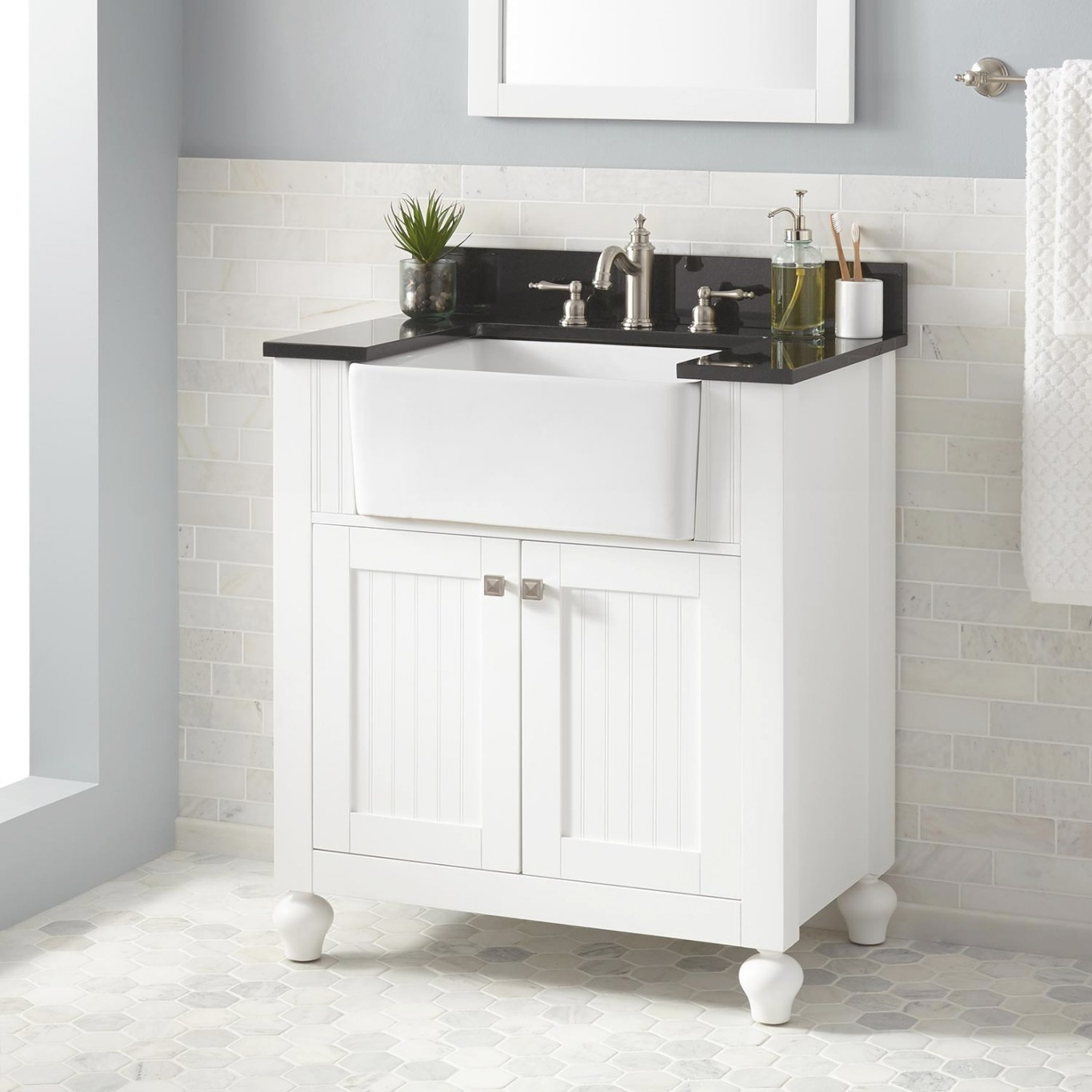 "30"" Nellie Farmhouse Sink Vanity - White - Bathroom within 30"" Bathroom Vanity"