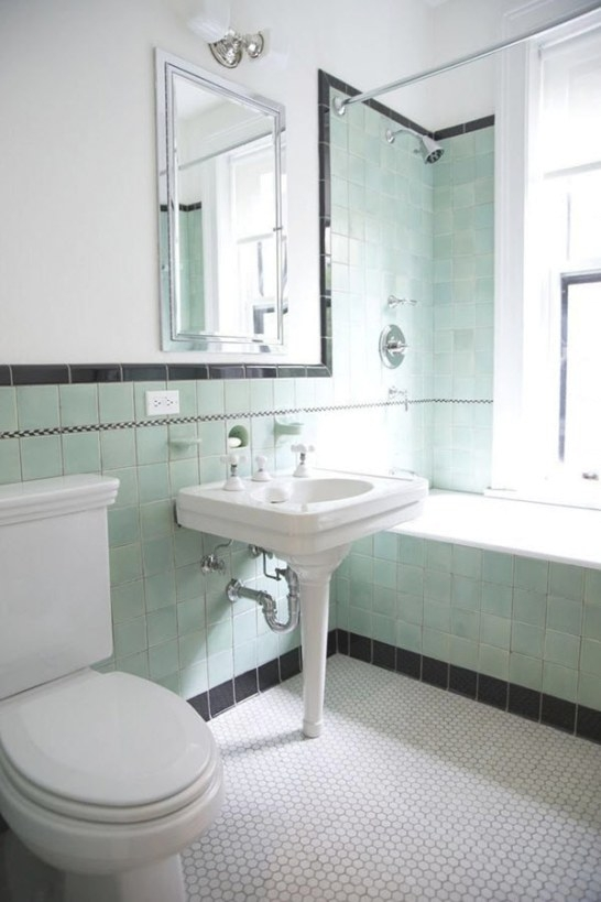 35 Vintage Black And White Bathroom Tile Ideas And Pictures with regard to Vintage Blue Tile Bathroom