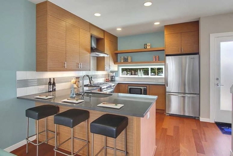 36 Stylish Small Modern Kitchens (Ideas For Cabinets for Small U Shaped Kitchen