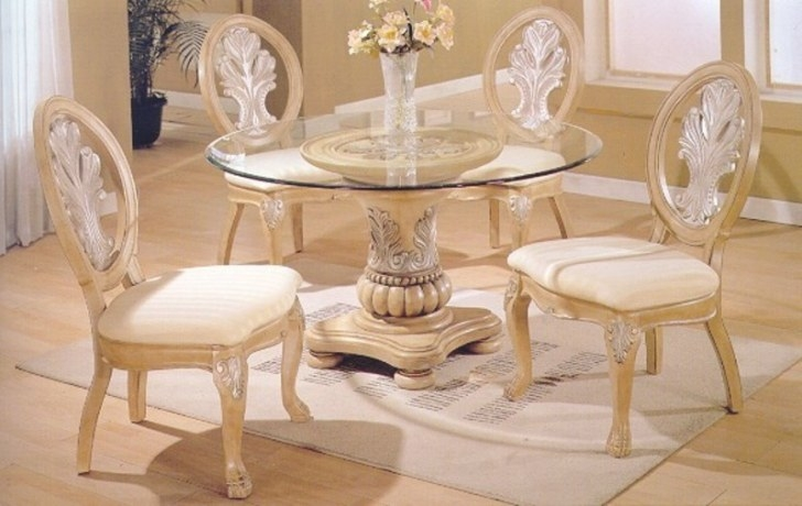 5 Pc Antique White Wood Round Glass Top Dining Table intended for Round Glass Dining Table
