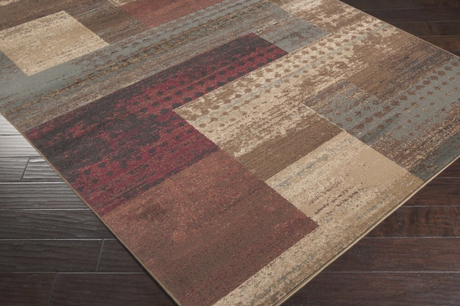 """5X8 (5'3"""" X 7'6"""") Contemporary Modern Geometric Burgundy intended for 5 X 7 Rugs"""