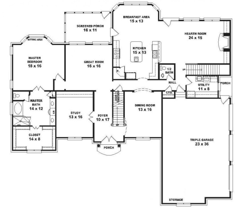#654043 - Two Story 5 Bedroom, 4.5 Bath French Traditional with 5 Bedroom Floor Plans