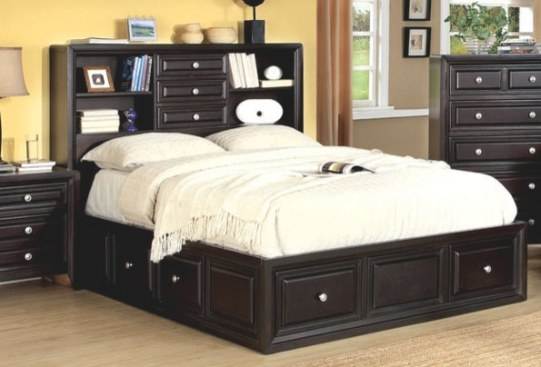 $804 Free Shipping ~~ Espresso Wood Queen Platform Bed within Queen Platform Bed With Storage And Headboard