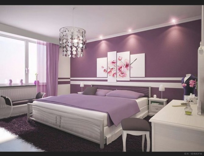 82 Best Accent Wall Inspiration Images On Pinterest pertaining to Purple Accent Wall Bedroom