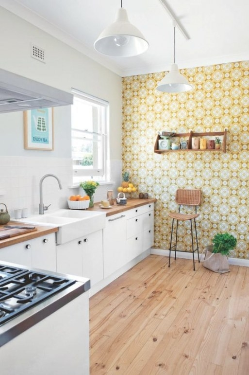 A Bold Printed Wallpaper Accent Wall Is A Great Idea To with regard to Accent Walls In Kitchens