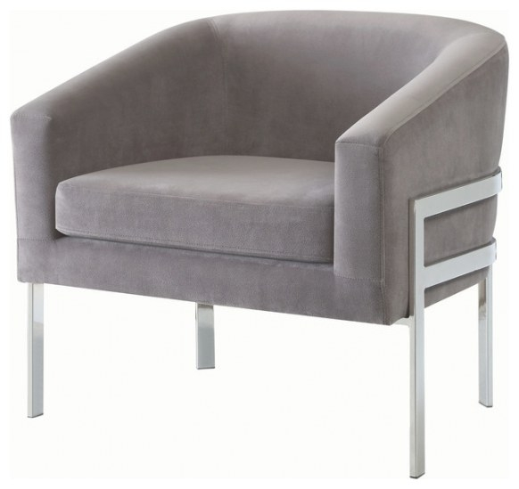 Accent Chair, Linen-Like Fabric With Exposed Metal Frame throughout Armchairs And Accent Chairs