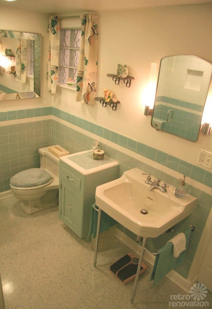 Added Counterspace- Great Idea! | Bathroom Vintage Style throughout Vintage Blue Tile Bathroom