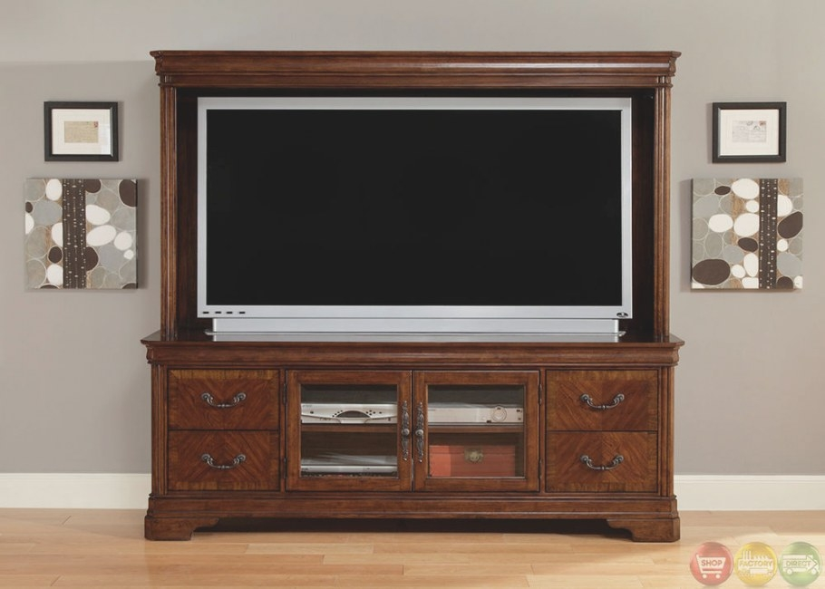 """Alexandria Large Traditional Entertainment Center 82"""" Tv in Entertainment Center Wall Unit"""