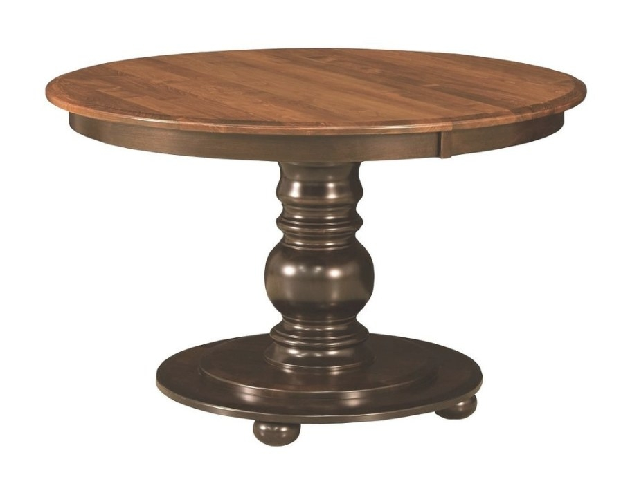Amish Round Pedestal Dining Table Black Traditional with Round Wood Dining Table