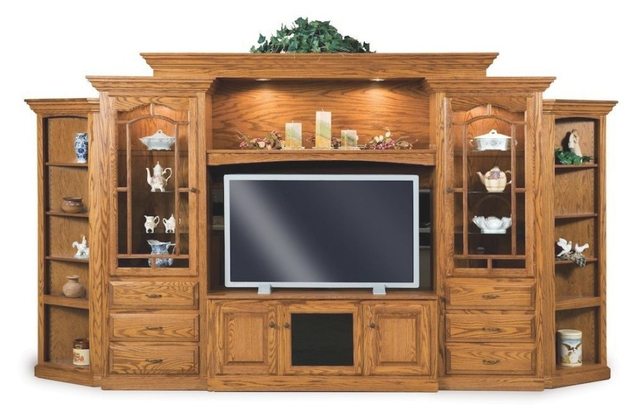 Amish Tv Entertainment Center Solid Oak Wood Media Wall within Entertainment Center Wall Unit