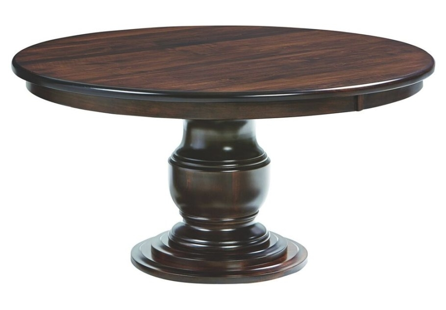 Amish Ziglar Round Pedestal Dining Table Solid Wood intended for Round Wood Dining Table