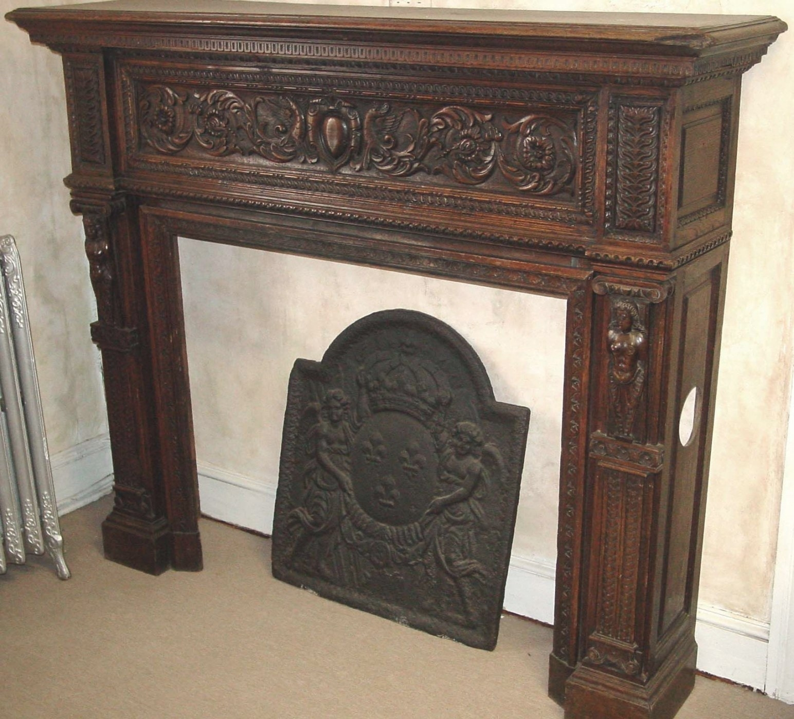 Antique Fireplace Mantels   French, Hand-Carved Wood within Fireplace Mantels For Sale