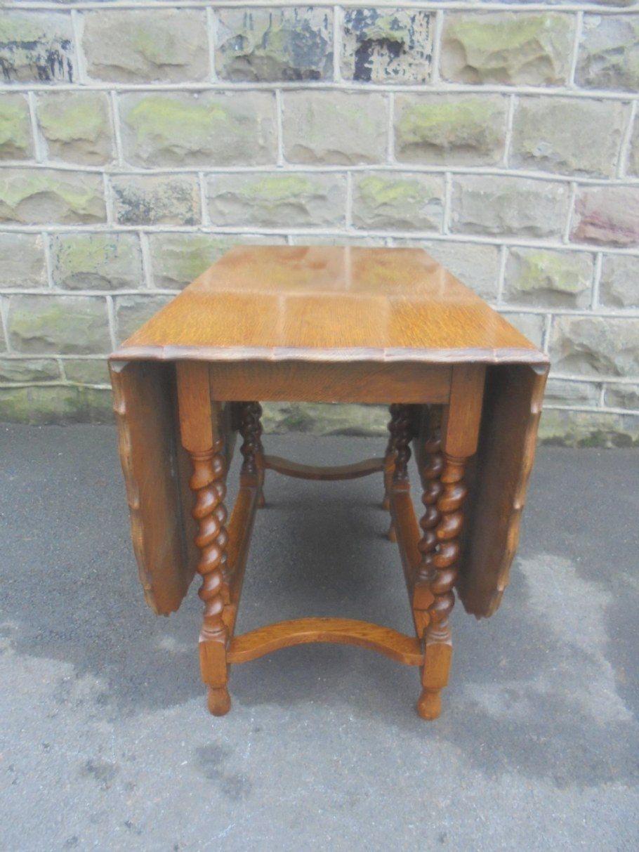 Antique Oak Barley Twist Drop Leaf Dining Table Seats 6-8 pertaining to 8 Person Dining Table