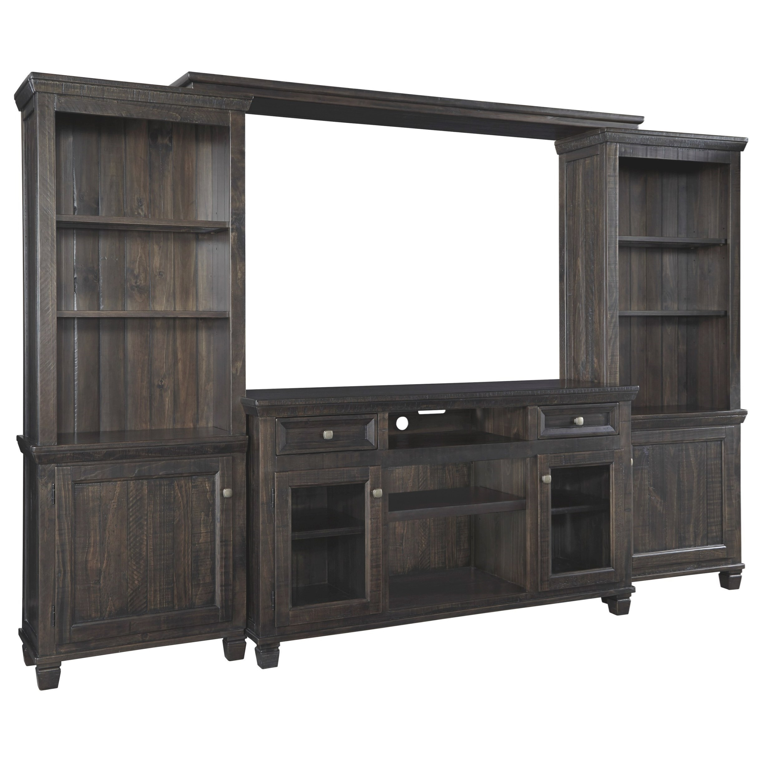 Ashley (Signature Design) Townser Solid Wood Pine within Entertainment Center Wall Unit