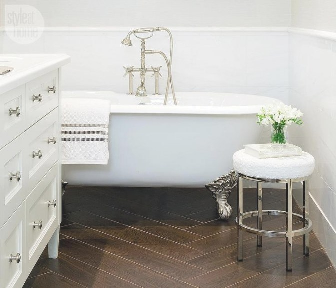 Bathroom With Porcelain Wood Like Tile Floor with regard to Wood Look Tile In Bathroom