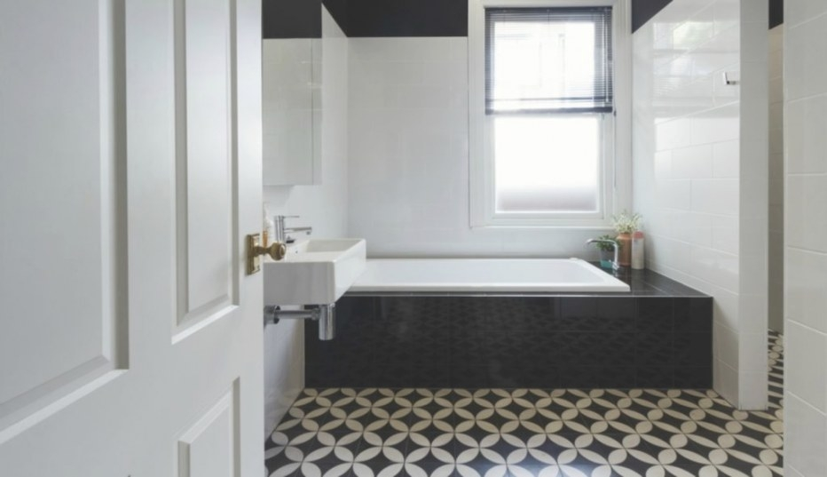 Bathrooms With Black And White Patterned Floor Tiles throughout Black Tile Floor Bathroom