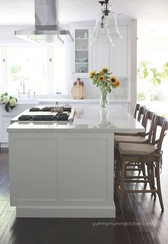 Beautiful White Marble Kitchen Remodel (With Images regarding Kitchen Island With Stove