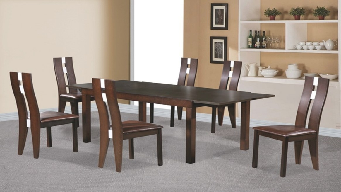 Beechwood Dining Table And 6 Chairs Dark Walnut - Homegenies inside Restaurant Booths For Home