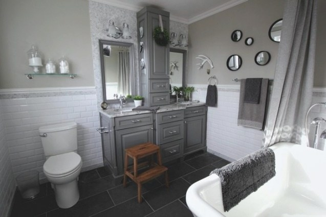 Before And After: Grey And White Traditional Bathroom within Grey And White Bathroom