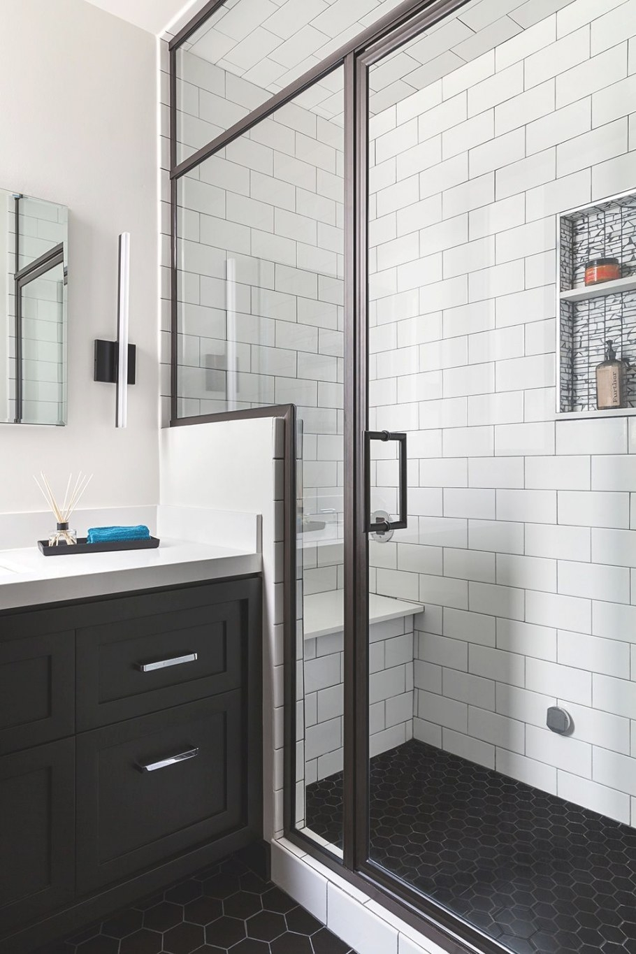Before And After: Twice As Nice Bathrooms | Rue | Bathroom pertaining to Black Tile Floor Bathroom
