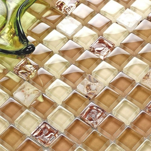 Beige Mixed Light Brown Color Square Glass Msoaic Tiles inside Brown And Beige Pinwheel Mosaic Tile Bathroom