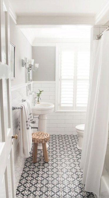Black And White Bathroom Floor Tiles - Transitional with regard to Grey And White Bathroom