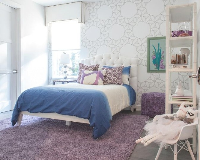 Blue And Gray Girl Bedroom With Mismatched Nightstands throughout Purple Accent Wall Bedroom
