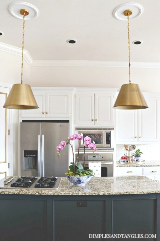 Brass Pendant Lights In The Kitchen - Dimples And Tangles intended for Kitchen Island Pendant Lighting