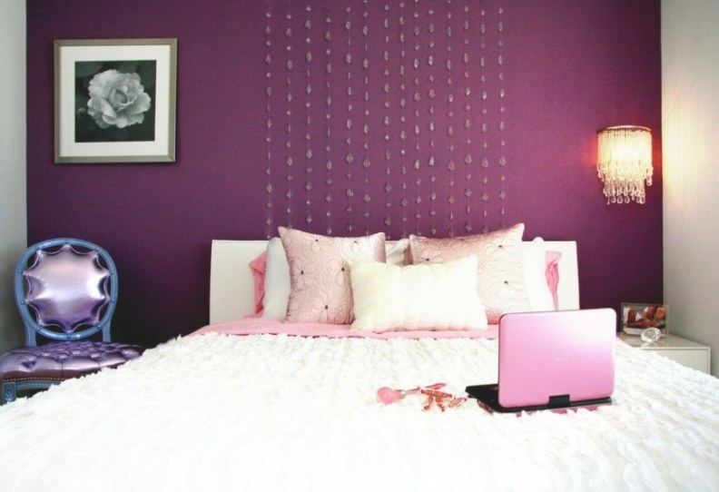 """Bright And Contemporary """"Russian Glam"""" Interior Design intended for Purple Accent Wall Bedroom"""