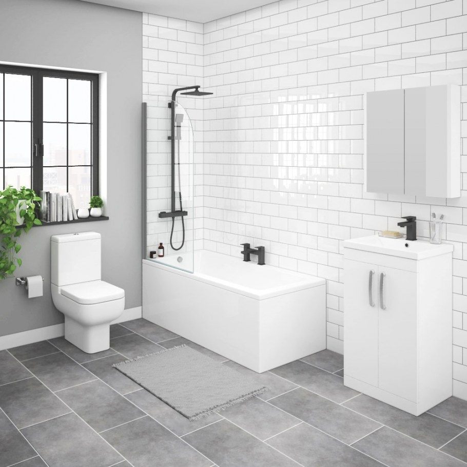 Brooklyn White Gloss Small Bathroom Suite   Victorian for Small White Tiles For Bathrooms