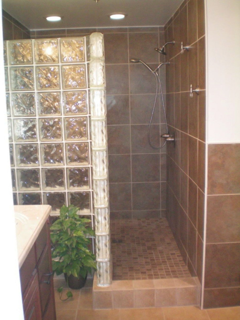 Building A Walk In Shower Enclosure With Glass Block regarding Walk In Shower For Small Bathroom