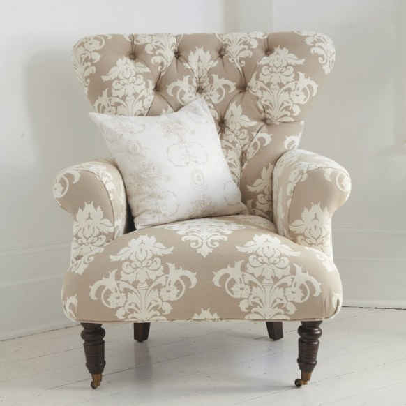 Button Back Cream Patterned Armchair - Country - Armchairs throughout Armchairs And Accent Chairs