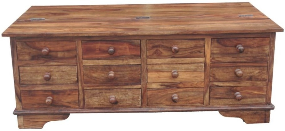 Buy Jaipur Cube Sheesham 12 Drawer Storage Coffee Table intended for Coffee Table With Drawers