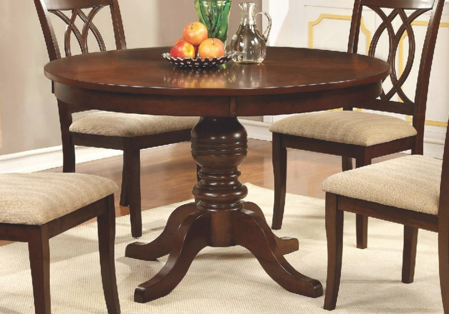 "Carlisle Country 48""D Round Pedestal Dining Table Solid inside Round Wood Dining Table"