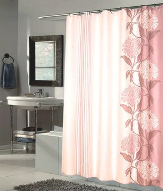 Carnation Home Chelsea Fashions Extra Long Printed Fabric for 84 Inch Shower Curtain