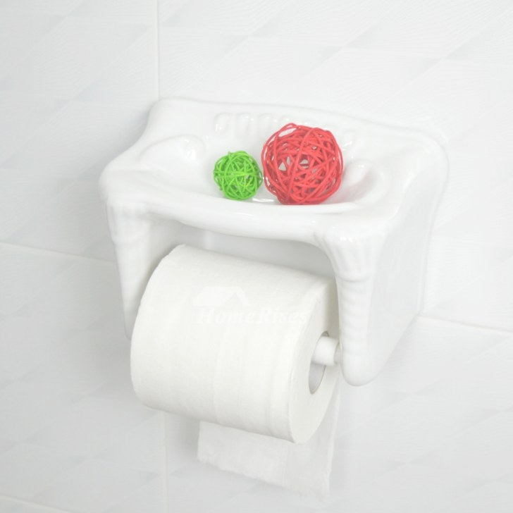 Ceramic Toilet Paper Holder Wall Mount With Shelf throughout Toilet Paper Holder With Shelf