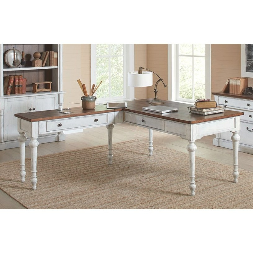 Cherry Brown And White L Shaped Office Desk - Durham | Rc throughout L Shaped Office Desk