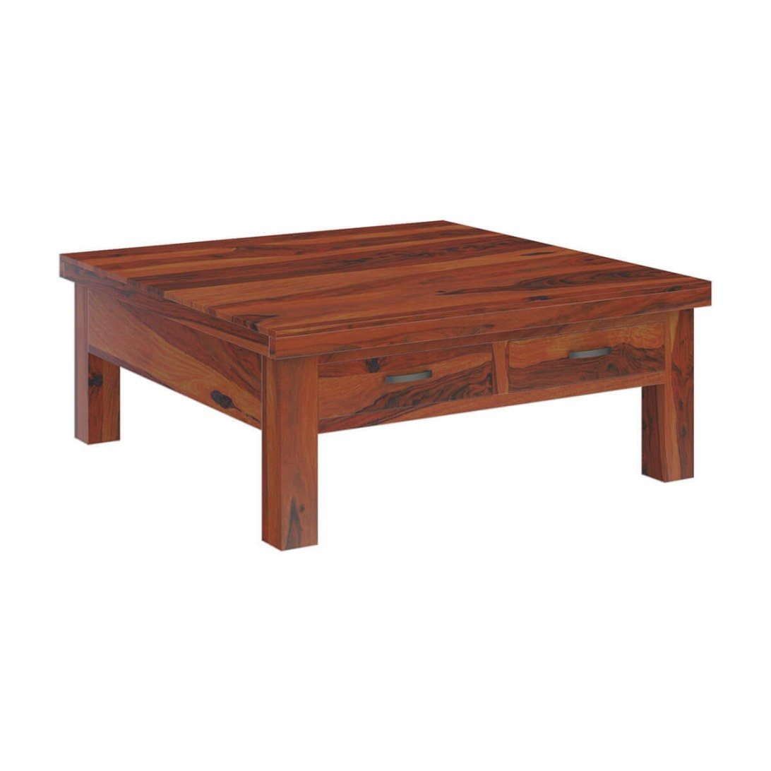 Cheverly Modern Style Solid Wood 4 Drawers Square Coffee Table intended for Coffee Table With Drawers