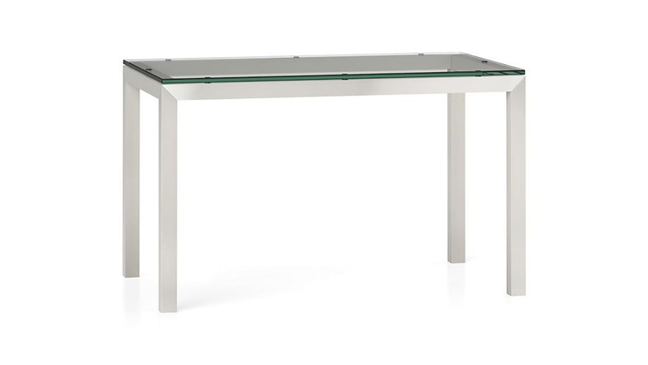 Clear Glass Top/ Stainless Steel Base Parsons Dining inside Stainless Steel Table Top