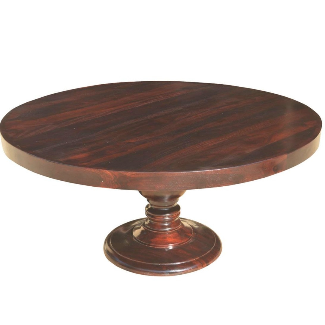 "Colonial American Solid Wood Pedestal 72"" Round Dining Table intended for Round Wood Dining Table"