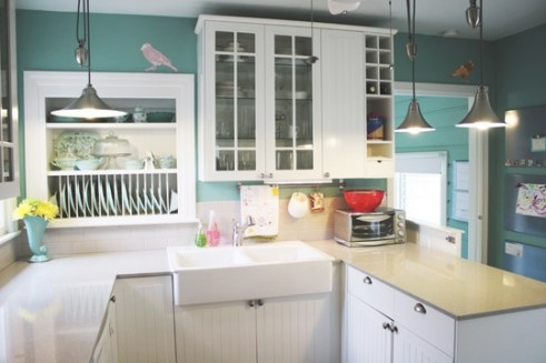 Colorful Cottage Kitchen | Freshomes within Yellow And Turquoise Kitchen