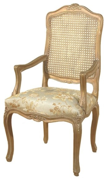 Consigned, Antique Gold French Style Rattan Floral regarding Armchairs And Accent Chairs